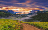 Обои к рабочего стола: закат, горы, цветы, пейзаж, meadow, tree, парк, view, небо, лес, облака, scenery, природа