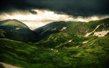 Обои: пейзаж, луг, облака, небо, зеленый, природа, деревья, холмы, горы