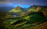 Обои: Шотландия, горы, тучи, утро, долина, холмы, огрудок Скай, круг Хайленд, скалы, облака, озёра