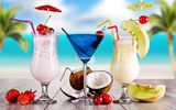 Обои для рабочего стола: beach, drink, tropical, summer, fruits, cocktail, palms