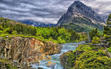 Обои для рабочего стола: Swiftcurrent Falls, скалы, горы, Glacier National Park, лес, река, каскад