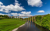 Обои: Leaderfoot Viaduct, река Твид, виадук, Шотландия, River Tweed, мост, Scotland, луг