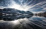 Обои для рабочего стола: Panorama, Sunrise, Reflection, Grundlsee, Alps, Austria