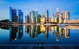 Обои для рабочего стола: Waterfront City, Marina Bay, Reflection, Singapore