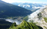 Обои для рабочего стола: Mountain, Forest, Green, Clouds, Switzerland, Fog