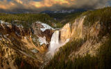 Обои: Lower Falls, лес, водопад, Wyoming, национальный парк, Yellowstone Canyon, Canyon Junction, USА, каньон