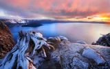 Обои: горы, озеро, Oregon, USA, рассвет, Crater Lake, кратер