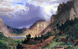 Обои для рабочего стола: Bierstadt, storm, colors, realism, american, talentuous, rosalie, painter, mountains, landscape, rockies