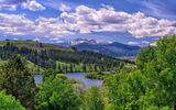 Обои: Pearrygin Lake, Winthrop, Washington, деревья, Methow Valley, долина, озеро, горы, облака