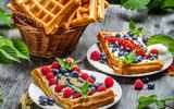 Обои: еда, Waffles with whipped cream and fruits of the forest