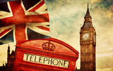 Обои: London, british flag, England, Лондон, vintage, symbol, telephone, Англия, Big Ben