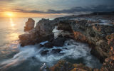 Обои: ocean, water, sun, cloud, rock