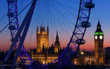Картинки_для_телефона: London Eye, Big Ben, вечер, башня, Лондон, London, Palace of Westminster, колесо