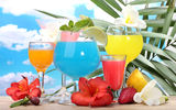 Обои: tropical, море, фрукты, fruits, коктейль, fresh, cocktail, drink
