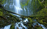 Обои: Proxy Falls, камни, Three Sisters Wilderness, Орегон, водопад, Oregon, брёвна, каскад, мох