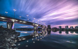 Обои для рабочего стола: Cityscape, Sky, River, Bridge, Reflection, Sunset, Ligth