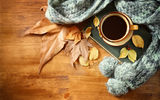 Обои: autumn, кофе, coffee, чашка, осень, cup, leaves, hot, листья, шарф
