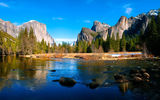 Обои: Yosemite, National park, горы, Valley View, река, лес, камни, природа