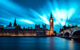 Обои для рабочего стола: London, Night, Water, England, Clouds, Big Ben, River, City