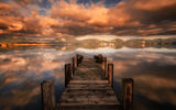 Обои: lake, cloud, pier, sunset