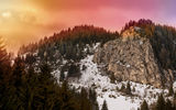 Обои для рабочего стола: Romania, Light, Winter, Carpatians, Print, Snow, Trees, Mountains, Travel, Sunset, Elydan, Clouds, Sky, Sun
