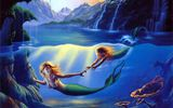 Обои: Mother and Child, mermaid, cave, painting, art, sea, Jim Warren