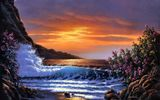 Обои для рабочего стола: Sunset Shores, Derk Hansen, bloom, painting, sea, waves, bush, sunset