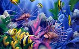 Обои для рабочего стола: Lions of the Sea, fish, corals, painting, underwater world, David Miller, colorful
