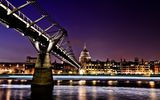 Обои: st pauls cathedral, Англия, millennium bridge, night, uk, Лондон, England, London, ночь, thames