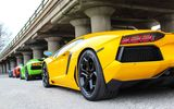 Обои: supercars, Aventador, red, yellow, green, LP700-4, Lamborghini, blue