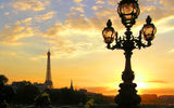 Обои: фонари, France, lights, Sunset, вечер, Paris, Street, Париж