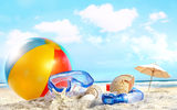 Картинки на телефон: пляж, sea, clouds, небо, море, Shells, sky, nature, beach, ball, облака, sand