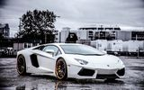 Обои для рабочего стола: aventador, wheels, lp700-4, ламборгини, авентадор, white, Lamborghini, black