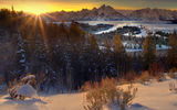 Обои для рабочего стола: wyoming, grand teton national park, sunburst wide angle from snake river - snake river