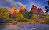 Обои для рабочего стола: utah, zion national park, first light on the peaks - three patriarches, virgin river