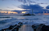 Обои для рабочего стола: lighthouse, england, before, gb, st marys, whitley bay, sunrise