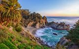 Обои для рабочего стола: McWay Falls, море, McWay Cove Beach, Парк Джулии Пфайфер Берн, Big Sur, водопад, California, Биг-Сюр, берег, Julia Pfeiffer Burns State Park, Калифорния, закат