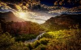Обои: Salt River Canyon, река, горы, Arizona закат