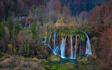 Обои: Plitvice Lakes National Park, пейзаж, осень, Croatia, водопады