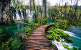 Обои: Plitvice Lakes National Park, водопад, река, Croatia