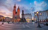 Обои: Krakow Market Square at sunrise, Польша, Краков