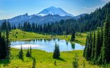 Обои: Tipsoo Lake, пейзаж, деревья, Mount Rainier National Park, Washington, USA, природа, горы, озеро