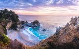 Обои для рабочего стола: McWay Falls, Julia Pfeiffer Burns State Park, California, закат, море, берег, водопад, McWay Cove Beach, Биг-Сюр, Big Sur, Калифорния, Парк Джулии Пфайфер Берн