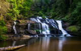 Обои для рабочего стола: Panther Creek Falls, природа, лес, водоём, деревья, North Georgia, пейзаж, водопад, скалы