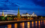 Картинки на телефон: Moscow Kremlin and Moscow River Illuminated in the Evening, Россия, ночные города, Москва, Russia