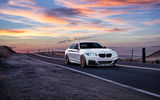 Обои для рабочего стола: BMW, Sunrise, San Jose, Road, Garde, Sunset, Front, Wheels, White, Mountains, Car, M235i, Avant