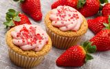 Обои: еда, sweet, strawberry, клубника, fruit, cream, крем, сладкое, food, фрукты