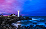 Обои: океан, берег, вода, маяк, море, дома, Portland Headlight, пейзаж, камни