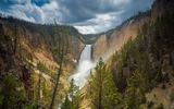 Обои: USА, Wyoming, Canyon Junction, Lower Falls, скала, лес, yellowstone national park, водопад
