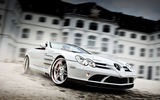 Обои для рабочего стола: Mercedes-Benz SLR Roadster McLaren, White Auto, Brabus Exclusive Sport Program
